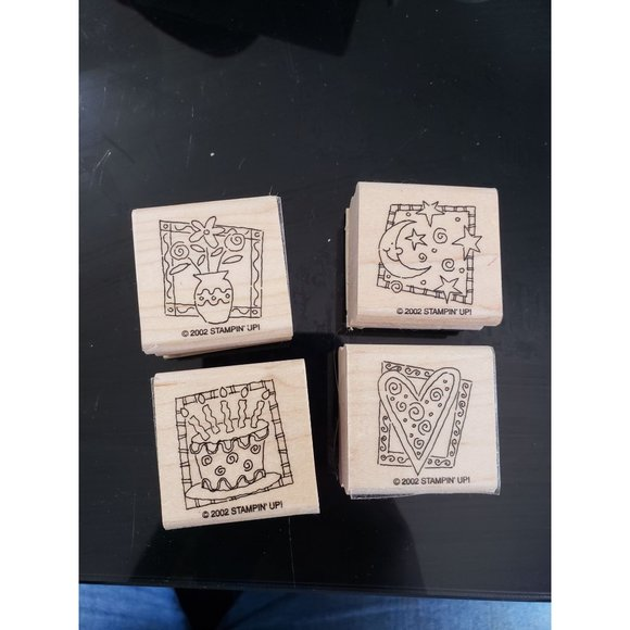 Stampin' Up 2002 Birthday Wooden Mounted Stamps Set Of 4